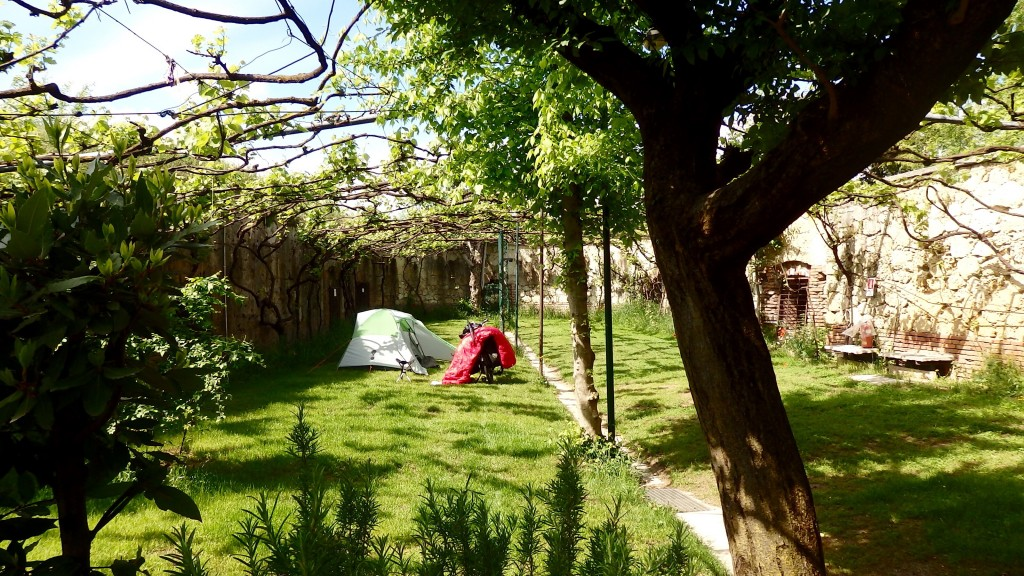 A beautiful camping site inside a castle... on a hill... in Verona... And, dry!