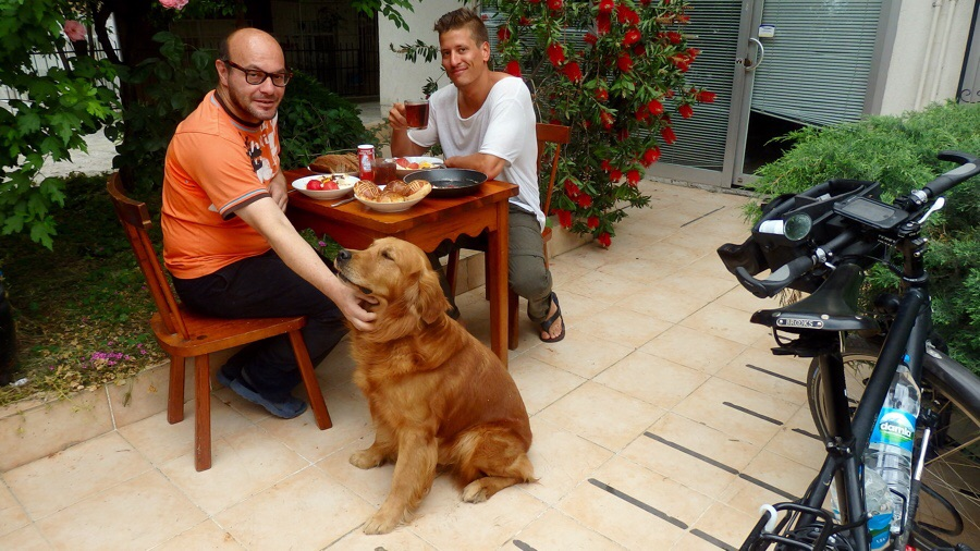 Ali, my host, and, Dino (dog) my second host